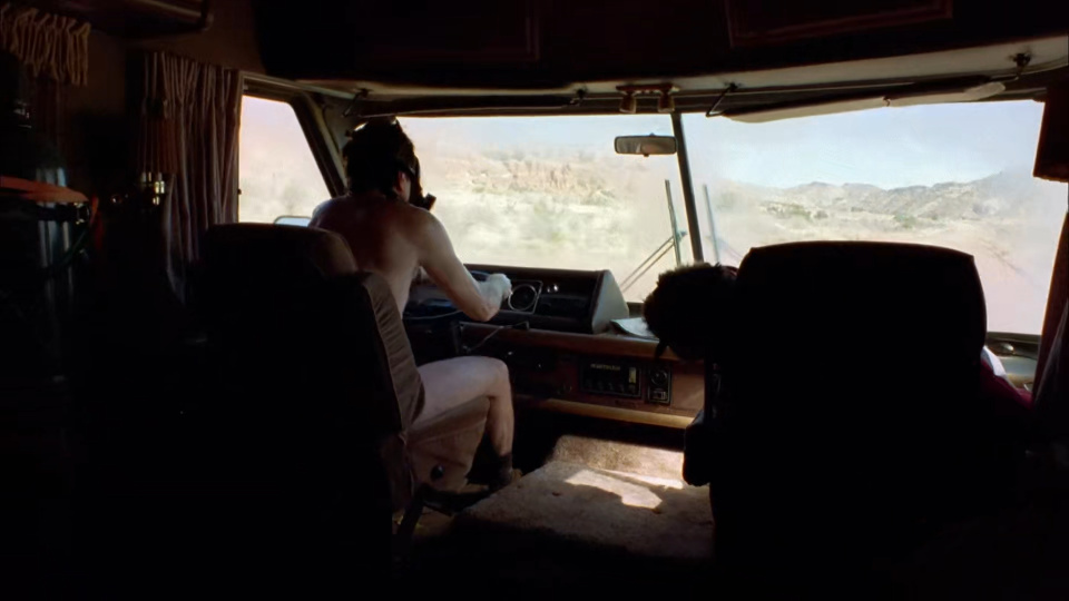 A frame from the chaotic opening of Breaking Bad.